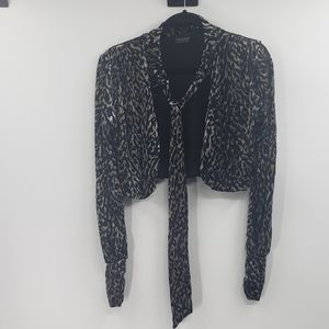 Topshop faux velvet cropped cardigan with tie.